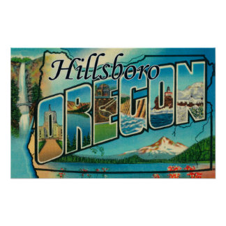 Hillsboro, Oregon - Large Letter Scenes Poster
