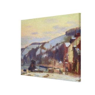 Hillside at Croisset under snow Canvas Prints