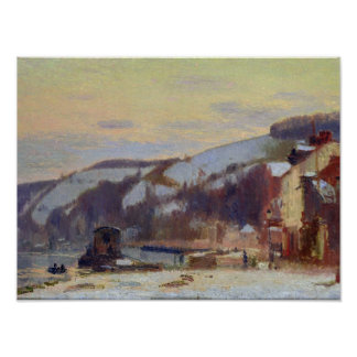 Hillside at Croisset under snow Posters