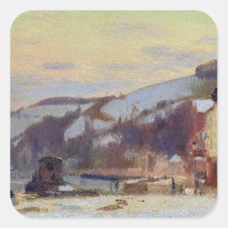 Hillside at Croisset under snow Square Sticker