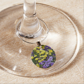 Hillside of Purple and Yellow Pansies Wine Charms