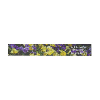 Hillside of Purple and Yellow Pansies Wrap Around Label