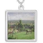 Hillside of Vesinet, Yvelines, 1871 Silver Plated Necklace