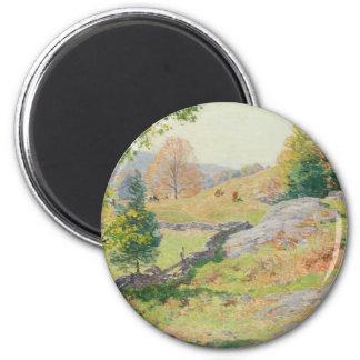Hillside Pasture in September - Willard Metcalf 2 Inch Round Magnet