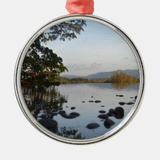 Hillside Pool Silver-Colored Round Ornament