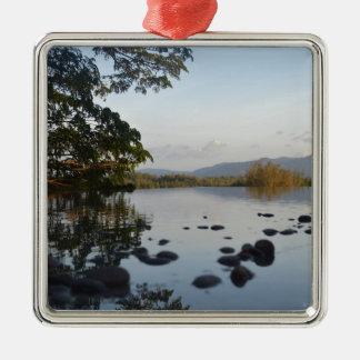 Hillside Pool Silver-Colored Square Ornament