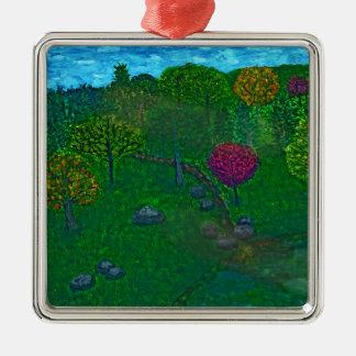 Hillside Retreat Silver-Colored Square Ornament