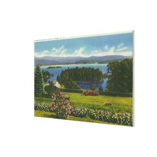 Hillside View of Diamond Island and Lake Canvas Print