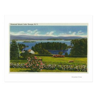 Hillside View of Diamond Island and Lake Postcard