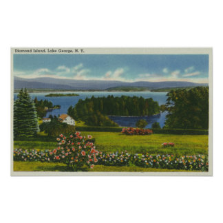 Hillside View of Diamond Island and Lake Poster