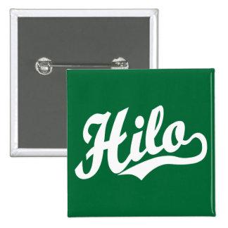 Hilo script logo in white 2 inch square button