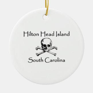 Hilton Head Island Jolly Roger Logo Ceramic Ornament