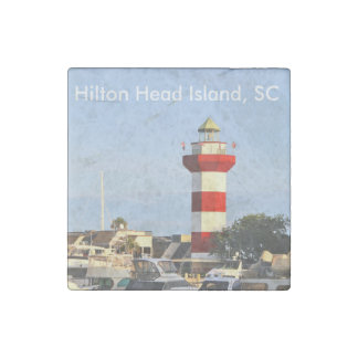 Hilton Head Island SC Lighthouse and Boats, Magnet Stone Magnets