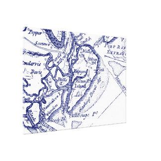 Hilton Head Island SC Vintage Map Navy Blue Canvas Print