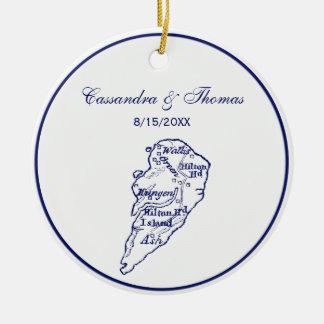 Hilton Head Island SC Vintage Map Navy Blue Ceramic Ornament