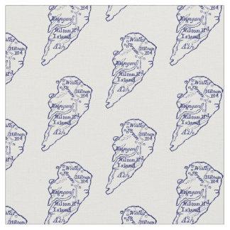 Hilton Head Island SC Vintage Map Navy Blue Fabric