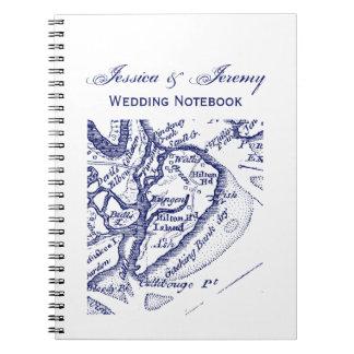 Hilton Head Island SC Vintage Map Navy Blue Notebook