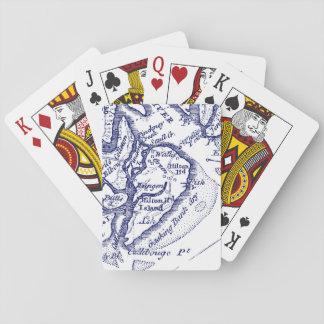 Hilton Head Island SC Vintage Map Navy Blue Playing Cards