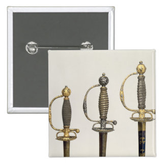 Hilts of three French swords: one of steel 2 Inch Square Button