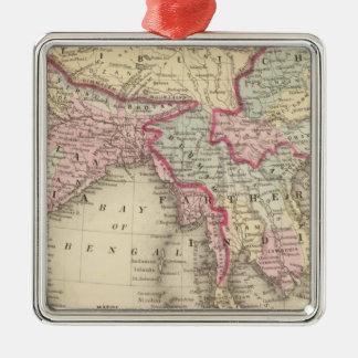 Hindoostan, Farther India, China, Tibet 2 Silver-Colored Square Ornament