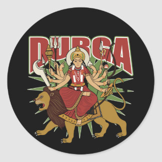 Hindu Durga Classic Round Sticker