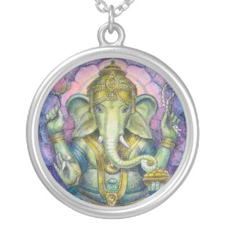 Hindu Elephant God Ganesha Round Necklace