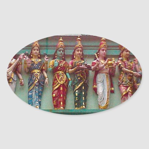 Hindu figures on the wall of Chettiar temple, Oval Sticker