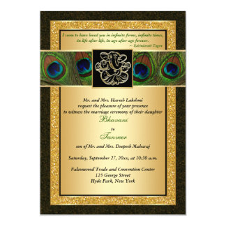 Hindu Ganesh Black, Gold Peacock Wedding Invite
