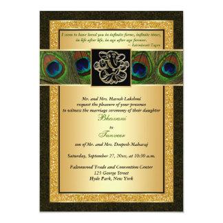 "Hindu Ganesh Black, Gold Peacock Wedding Invite 5"" X 7"" Invitation Card"