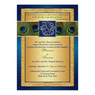 "Hindu Ganesh Blue, Gold Peacock Wedding Invite 5"" X 7"" Invitation Card"
