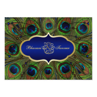 Hindu Ganesh Peacock Feathers Wedding Invite Blue
