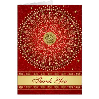 Hindu Ganesh Red Gold Scrolls Stars Thank You Card