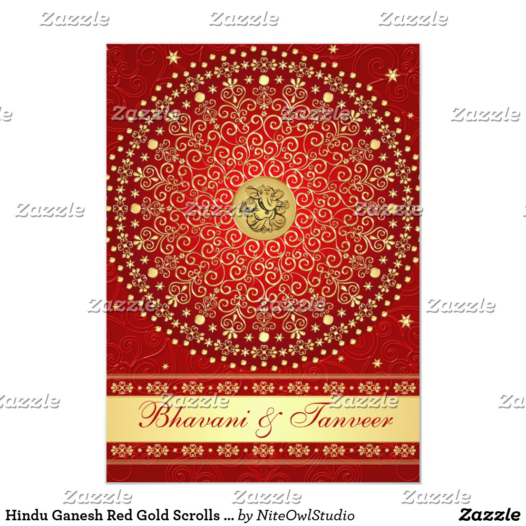 Hindu Ganesh Red Gold Scrolls Wedding Invite 2