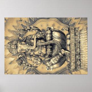 Hindu god Ganesh gold Poster