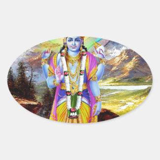 HINDU GOD VISHNU OVAL STICKER