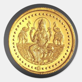HINDU GODDESS LAKSHMI ROUND STICKER