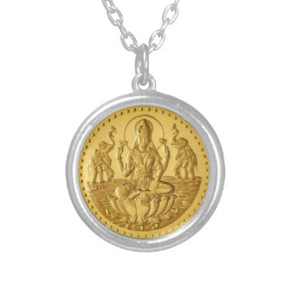 HINDU GODDESS LAKSHMI SILVER PLATED NECKLACE