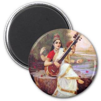Hindu Goddess Saraswati 2 Inch Round Magnet