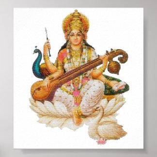 Hindu Goddess Saraswati Godess For art education Poster