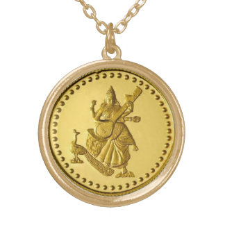 HINDU GODDESS SARASWATI GOLD PLATED NECKLACE