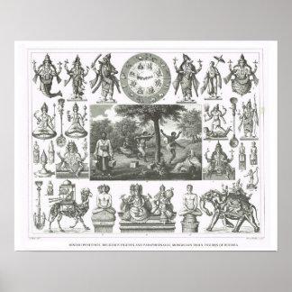 Hindu gods, Mongolian idols, figures of Buddha Poster
