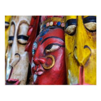 Hindu Indian Mask on Wall Postcard