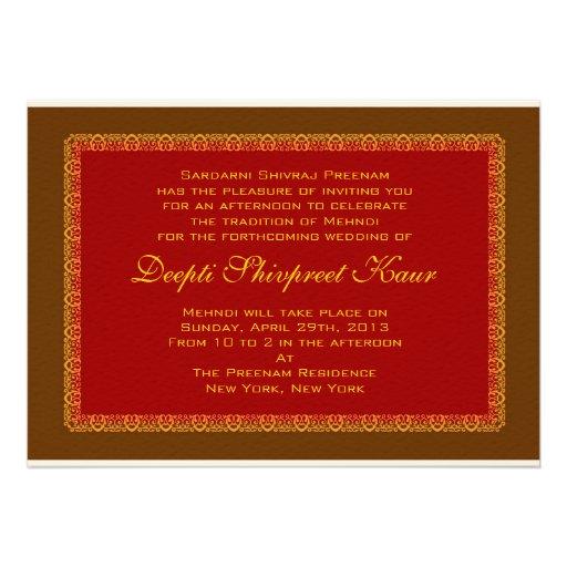 Hindu Muslim Indian Wedding Invitation Mehndi