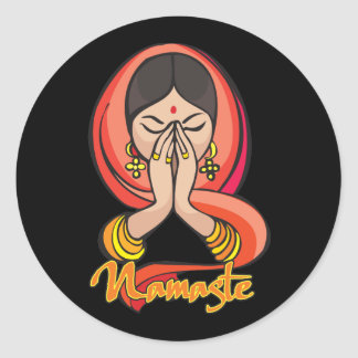 Hindu Namaste Round Sticker