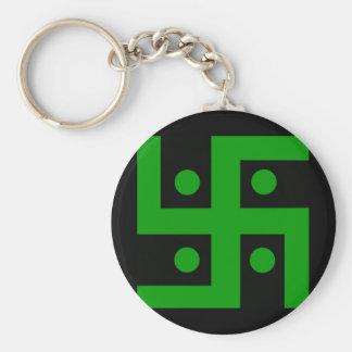 Hindu swastika (green on black background) keychain