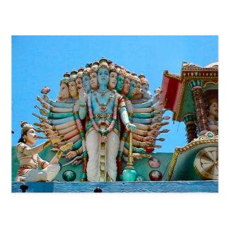 Hindu temple, statue of goddesse postcard