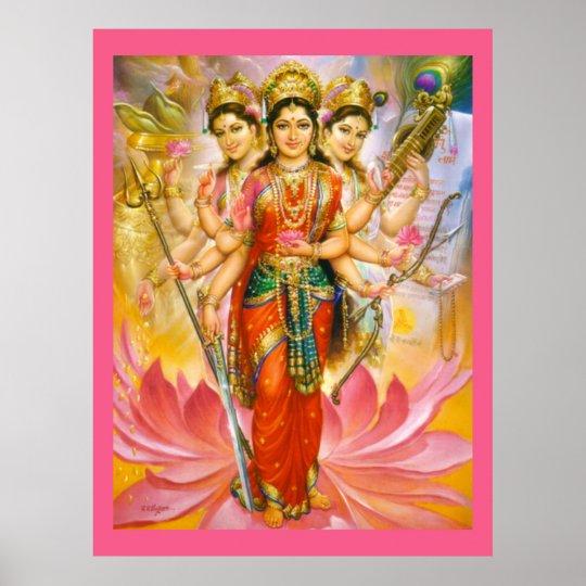 Hindu Three Goddesses Large Canvas Print