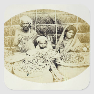 Hindu Vegetable and Fruit Sellers in Madras, 19th Square Sticker