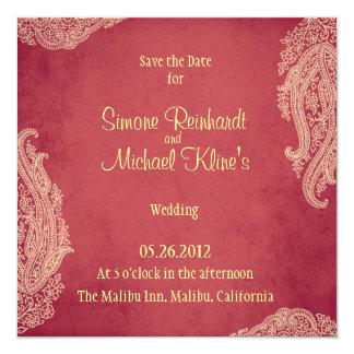"Hindu Wedding Invitation, Mehndi red and gold 5.25"" Square Invitation Card"