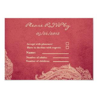 Hindu Wedding RSVP Card, Mehndi red and gold Card